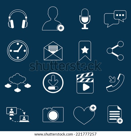 Social network icons outline set with media elements isolated vector illustration - stock vector