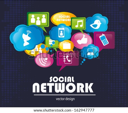 social network icons over blue background vector illustration   - stock vector
