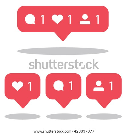 Social network icons pack. Like, comment, follow. - stock vector