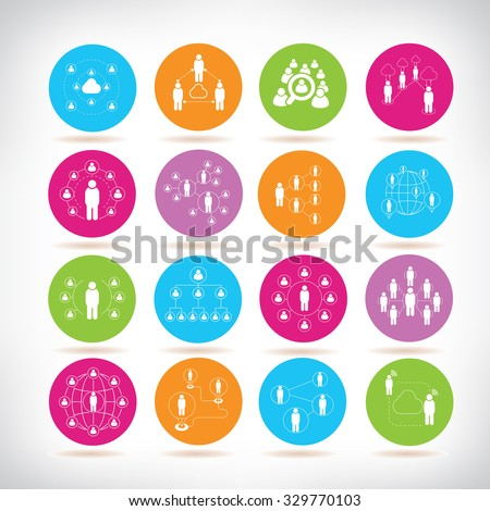 social network icons, people connection icons set - stock vector
