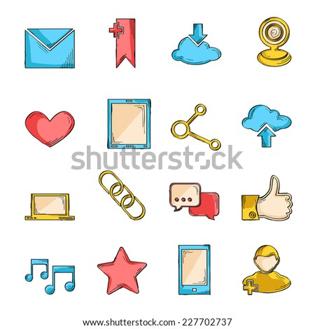 Social network icons sketch line set with communication user interface elements isolated vector illustration - stock vector