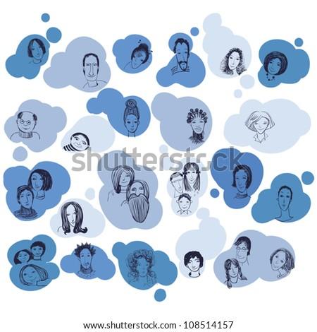 Social network illustration concept. Vector. - stock vector