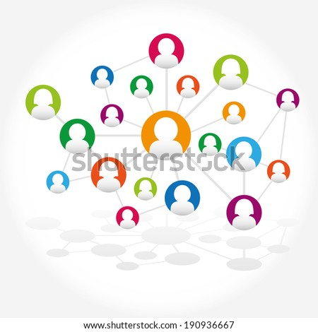 Social network internet chat community communication - stock vector