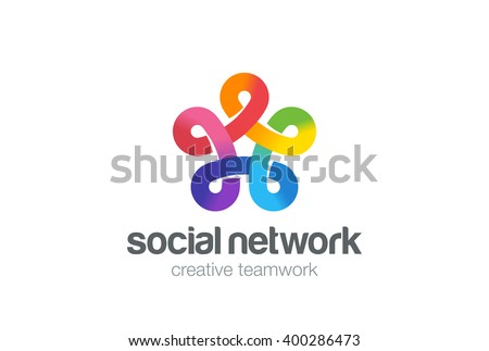 Social network Logo colorful design vector template. Five point Infinity Looped Social star Logo Logotype. Infinite shape concept Loop Logo icon - stock vector