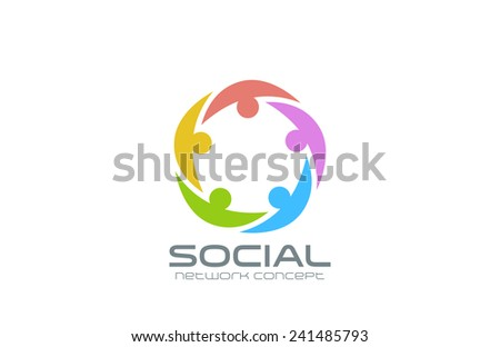 Social Network Logo design vector template. Team circle icon. Teamwork community friendship logotype creative idea. - stock vector