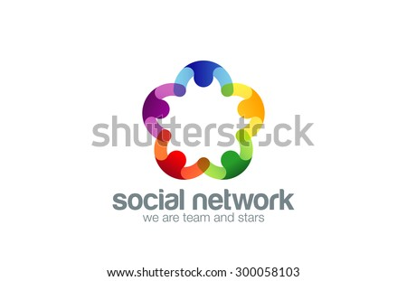 Social network Logo design vector template with abstract characters. People holding hands in circle Friendship, Partnership, Cooperation, Teamwork, Family logotype concept icon. Five point star. - stock vector