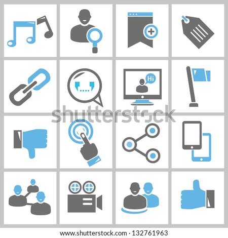 social network, multimedia icons set, vector - stock vector