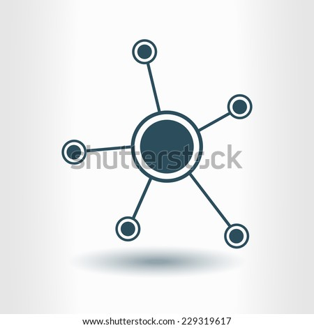 Social network single icon. Global technology or social network. - stock vector