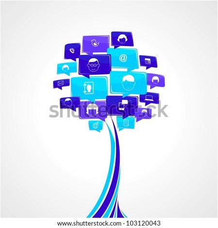 Social network tree - stock vector