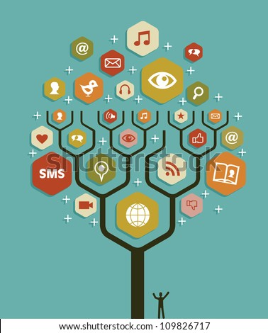 Social network tree business team marketing plan. Vector illustration layered for easy manipulation and custom coloring. - stock vector