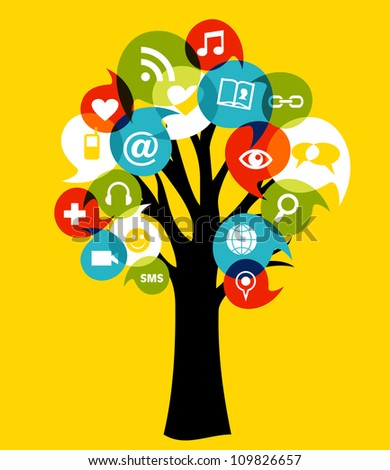 Social network tree with media icons leaf. Vector illustration layered for easy manipulation and custom coloring. - stock vector