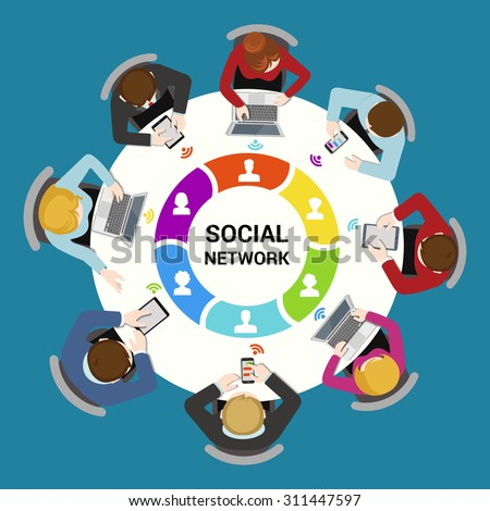 Social network usage concept. Round office table top view business flat web infographic concept vector. Staff around table using social media laptop tablet smartphone. Creative people collection. - stock vector