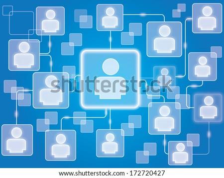 Social network,vector background - stock vector