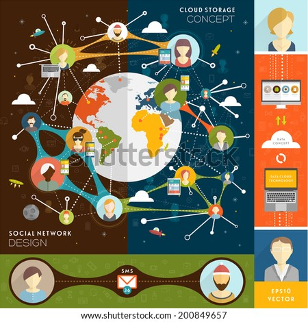 Social Network Vector Concept. Flat Style Illustration for Web Sites Infographic Design. Set of Cloud Data Storage and Computing Icons. Communication Technologies. - stock vector