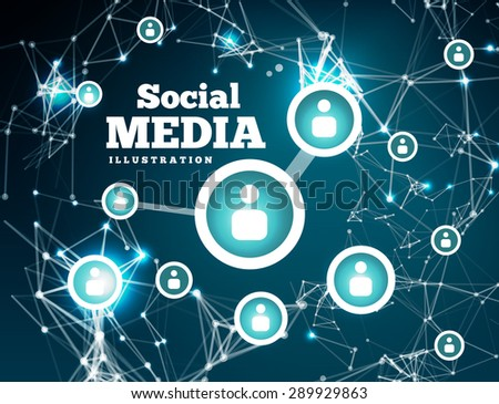 Social network with dot connected by lines - stock vector