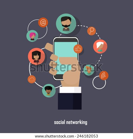 Social networking business vector concept in flat style - stock vector