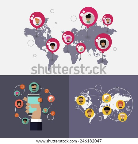 Social networking business vector concept set in flat style - stock vector