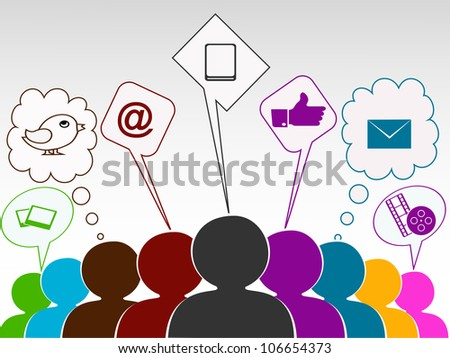 Social networking 3D peoples connect with social  network. EPS 10. Social networking and social media concept. - stock vector