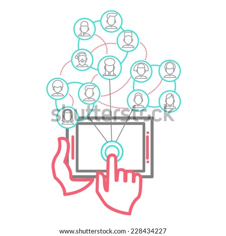 Social Networking People Conceptual Design Vector Illustration eps 10 - stock vector