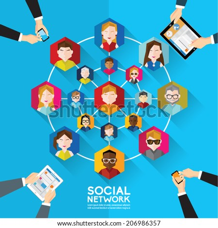 Social Networking People Conceptual Vector Design  - stock vector