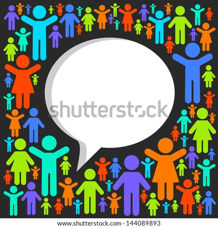 Social networking, speech cloud - stock vector