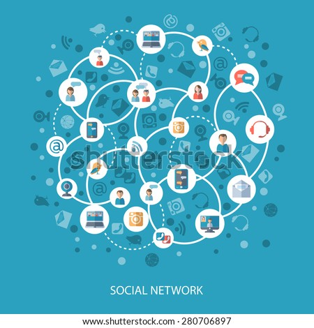 Social networks and communication connecting people online concept on blue background flat vector illustration - stock vector