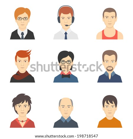Social networks business private man users profile avatar dress code haircut icons set isolated flat vector illustration - stock vector