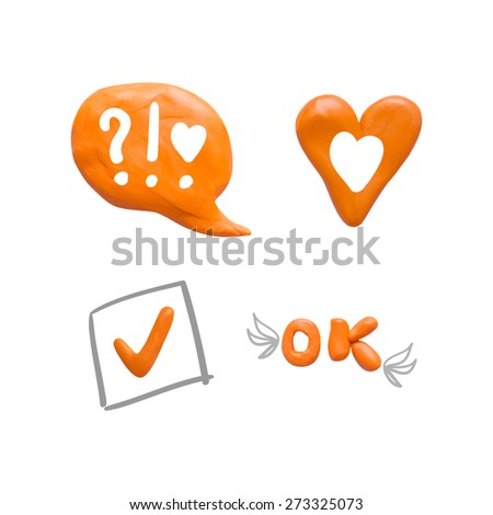 social orange icon set made from plasticine on isolated white white background design for website - stock vector