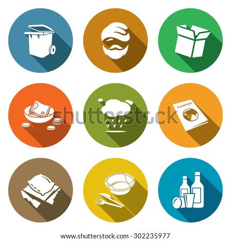 Social phenomenon homeless Icons Set. Vector Illustration. Isolated Flat Icons collection on a color background for design - stock vector