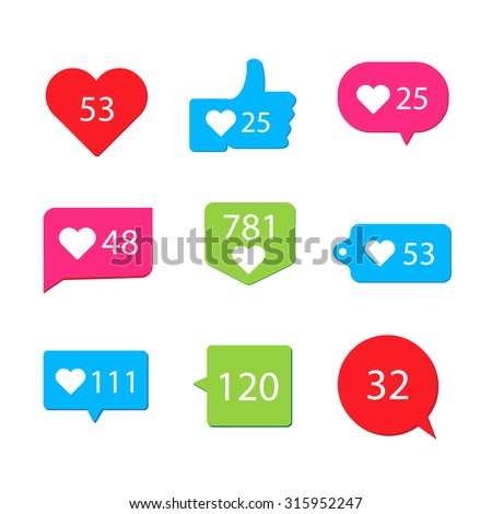 Social pictogram Counter Notification Icons collection on ribbons and labels. For your next project. - stock vector