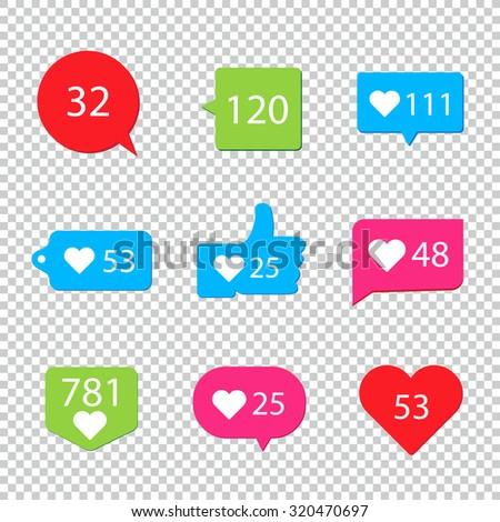 Social pictograms Counter Notification Icons collection - stock vector
