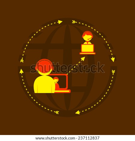 social relation or friendship around global concept vector - stock vector