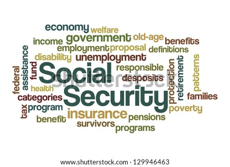 Social Security Word Cloud - stock vector