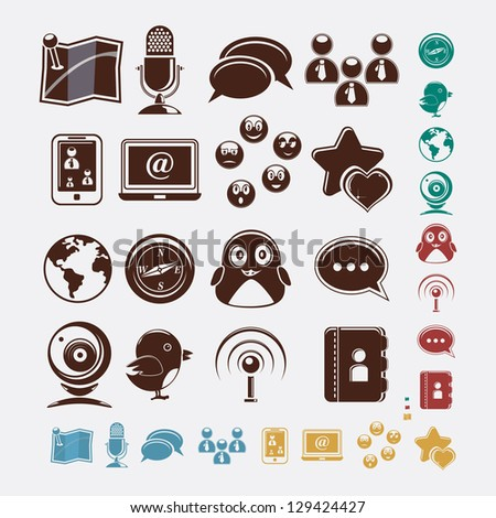 Social set of icons - stock vector