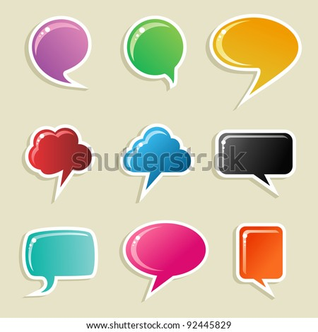 Social speech bubbles in different colors and forms illustration set. Vector file available. - stock vector