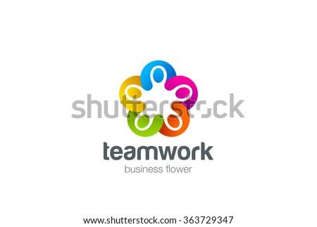 Social star Logo design vector template. Five men holding hands Teamwork. Partnership Friendship team work Logotype. Community union group triple icon. - stock vector
