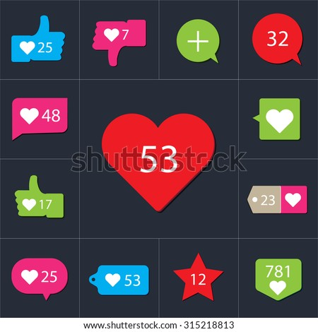 Social Vector Like Counter Notification Icons collection on ribbons and labels.  - stock vector