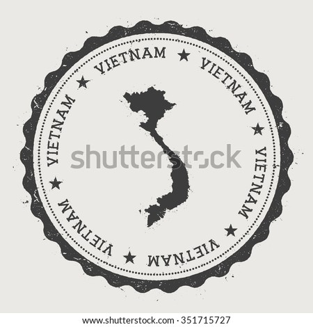 Socialist Republic of Vietnam. Hipster round rubber stamp with Vietnam map. Vintage passport stamp with circular text and stars, vector illustration - stock vector
