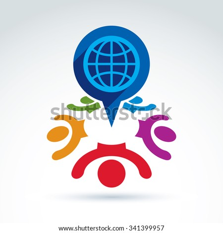 Society taking care about the world, global peace wealth and ecology theme icon, vector conceptual stylish symbol for your design. - stock vector