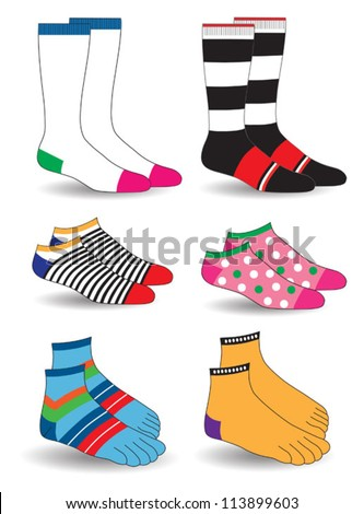 socks collection - stock vector