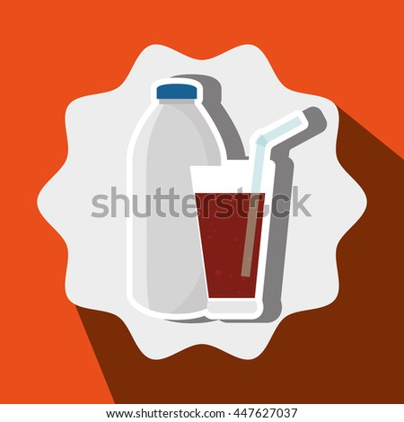 soda bottle and glass isolated icon design, vector illustration  graphic  - stock vector