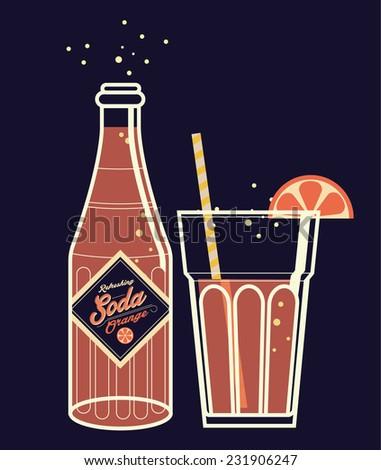 soda bottle/glass vector/illustration orange juice - stock vector