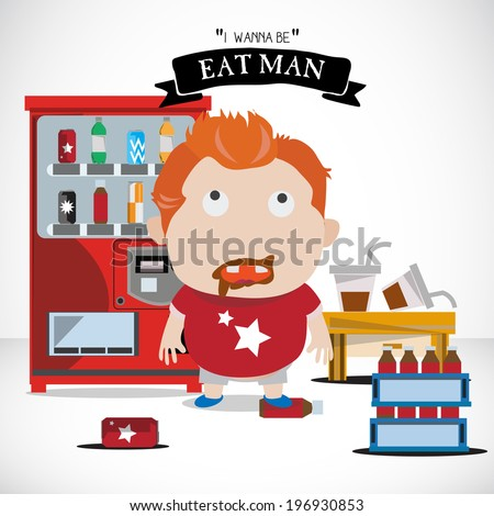 soda boy character with elements. fat - vector illustration - stock vector