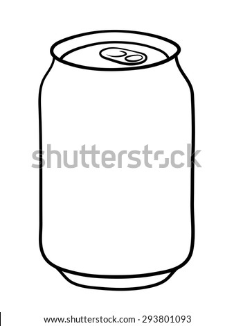 Soda can doodle illustration in black and white - stock vector