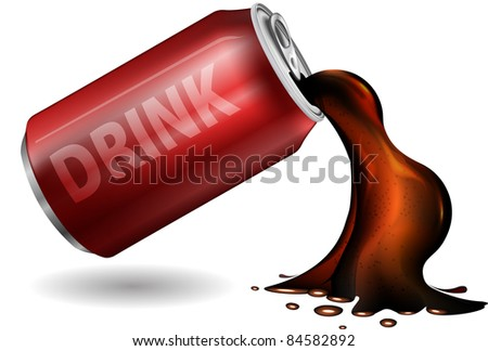 soda drink in metal can - stock vector