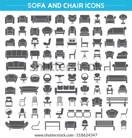 sofa and chair icons, interior furniture icons set - stock vector