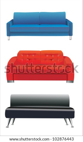 sofa furniture isolated on white background - stock vector