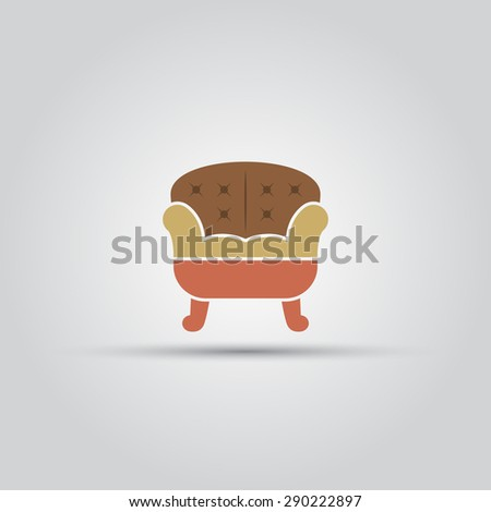 Sofa isolated vector colored icon - stock vector