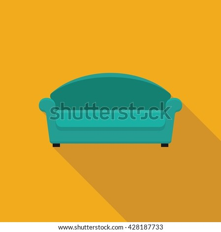 Sofa. Stylized flat icon with a shadow - stock vector