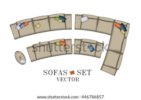 Sofa Top View. Sofas and Armchair Set. Realistic Illustration. Modern Luxury Living Room. Furniture for Your Interior Design. Scene Creator. Bench and Poufs. Isolated Grey Sofas on White Background. - stock vector